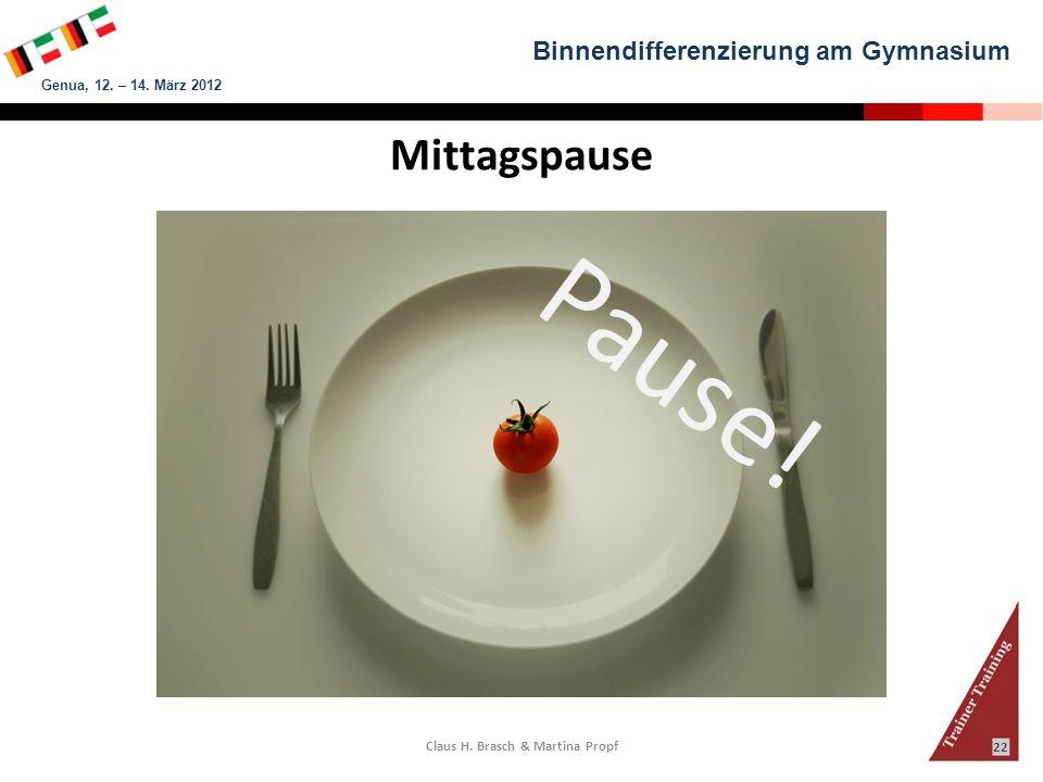 Binnendifferenzierung am Gymnasium Genua, 12. – 14. März 2012 Claus H. Brasch & Martina Propf 22 Pause! Mittagspause