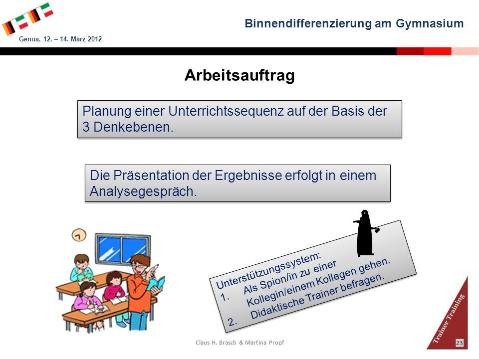 Binnendifferenzierung am Gymnasium Genua, 12. – 14. März 2012 Claus H. Brasch & Martina Propf 23 Arbeitsauftrag Planung einer Unterrichtssequenz auf d