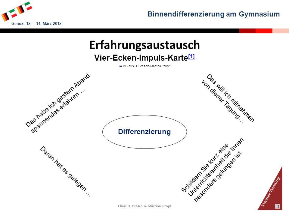 Binnendifferenzierung am Gymnasium Genua, 12. – 14. März 2012 Claus H. Brasch & Martina Propf 3 Erfahrungsaustausch Vier-Ecken-Impuls-Karte [1] [1] [1