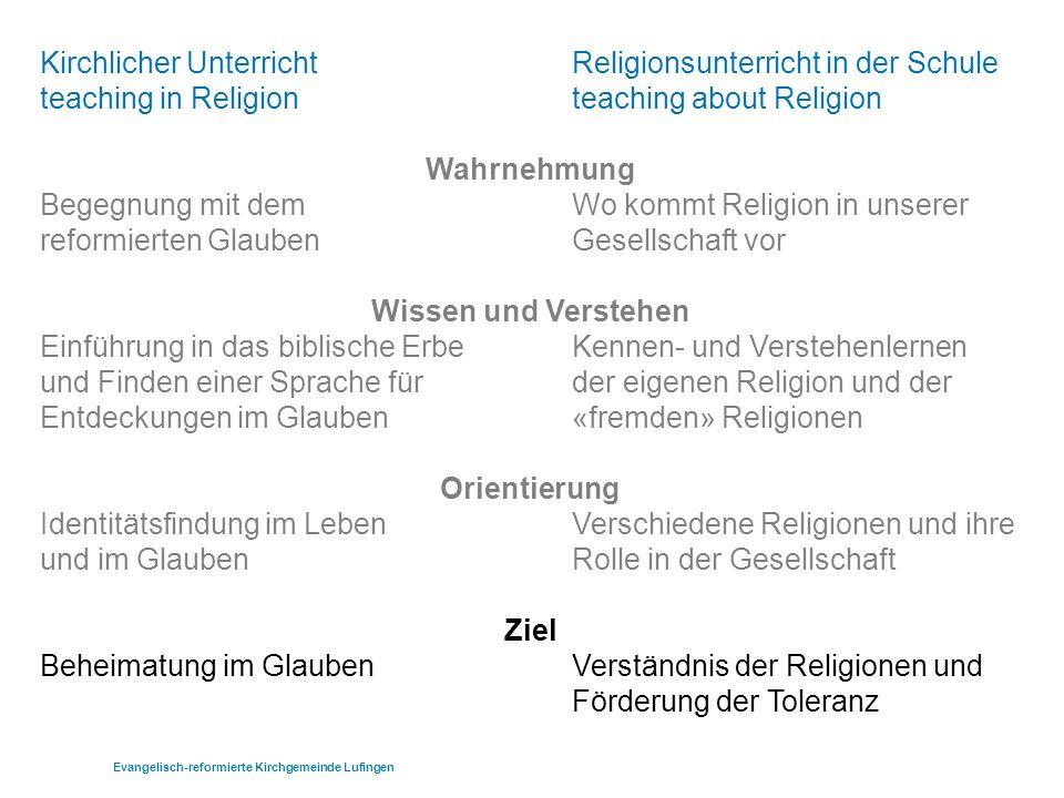 Religionspädagogisches Gesamtkonzept RPG Ziele Beheimatung beim Aufwachsen Begleitung beim Aufbrechen Evangelisch-reformierte Kirchgemeinde Lufingen