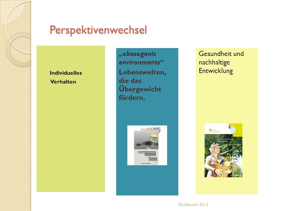 Perspektivenwechsel Individuelles Verhalten obesogenic environments Lebenswelten, die das Übergewicht fördern. Gesundheit und nachhaltige Entwicklung