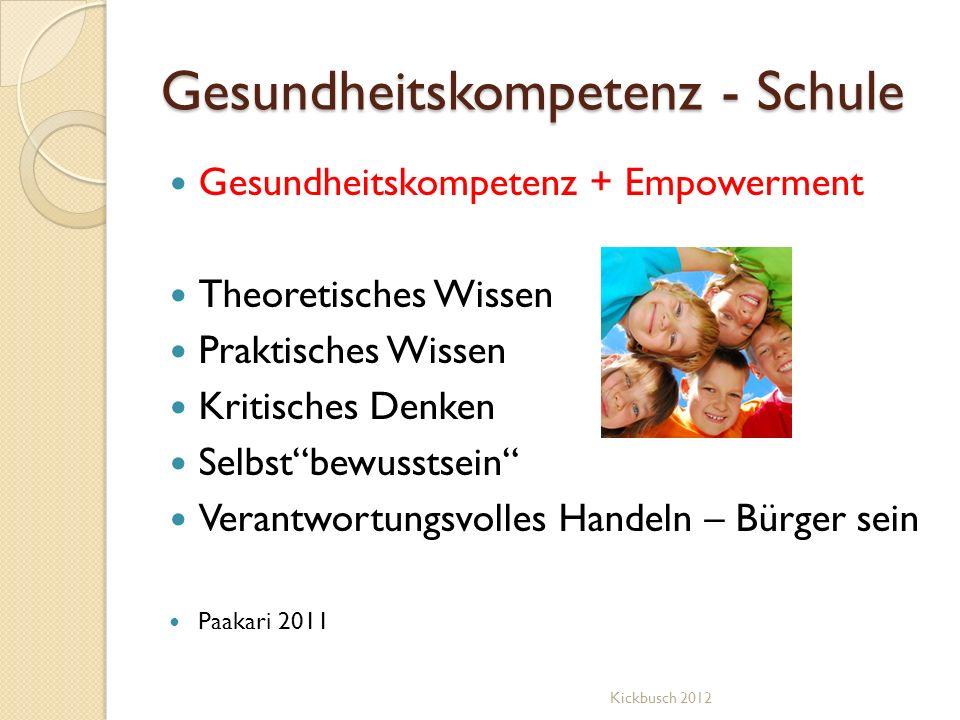 Gesundheitskompetenz - Schule Gesundheitskompetenz + Empowerment Theoretisches Wissen Praktisches Wissen Kritisches Denken Selbstbewusstsein Verantwor