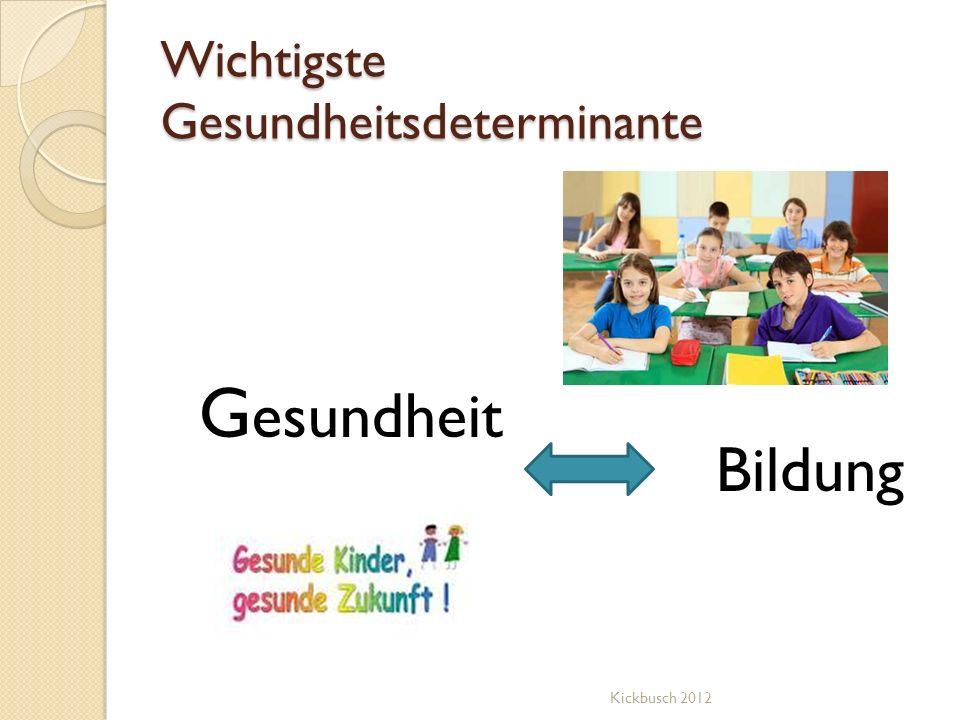 Wichtigste Gesundheitsdeterminante G esundheit Bildung Kickbusch 2012