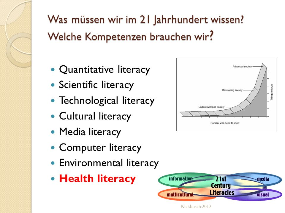 Was müssen wir im 21 Jahrhundert wissen? Welche Kompetenzen brauchen wir ? Quantitative literacy Scientific literacy Technological literacy Cultural l