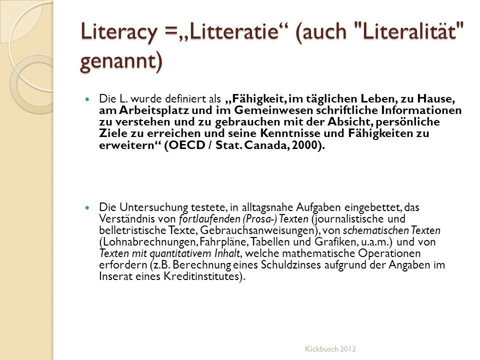 Literacy =Litteratie (auch
