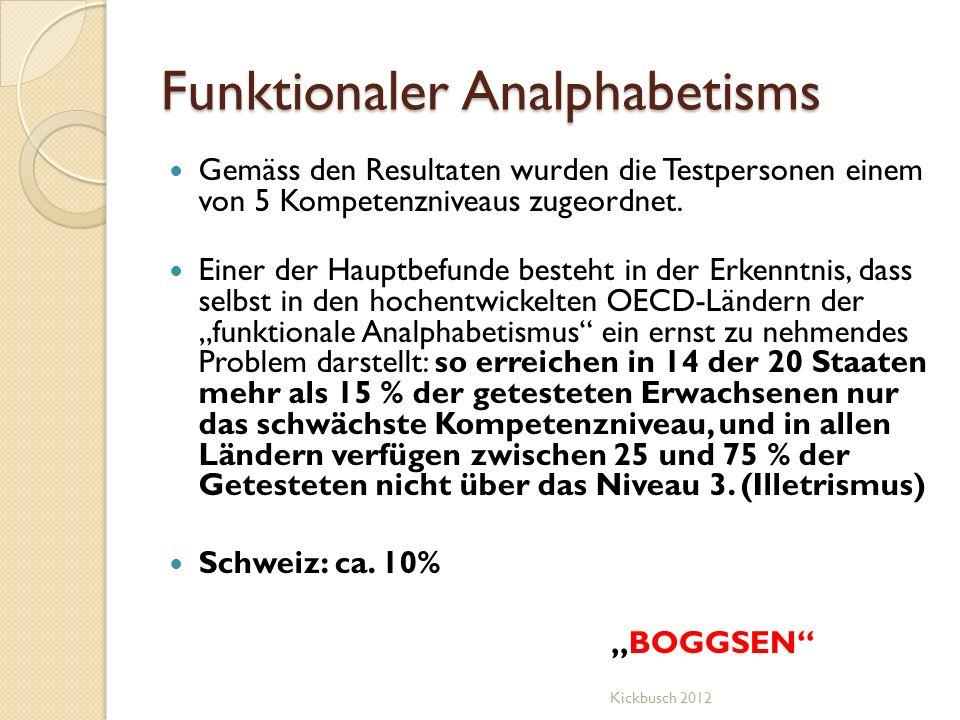 Funktionaler Analphabetisms Gemäss den Resultaten wurden die Testpersonen einem von 5 Kompetenzniveaus zugeordnet. Einer der Hauptbefunde besteht in d