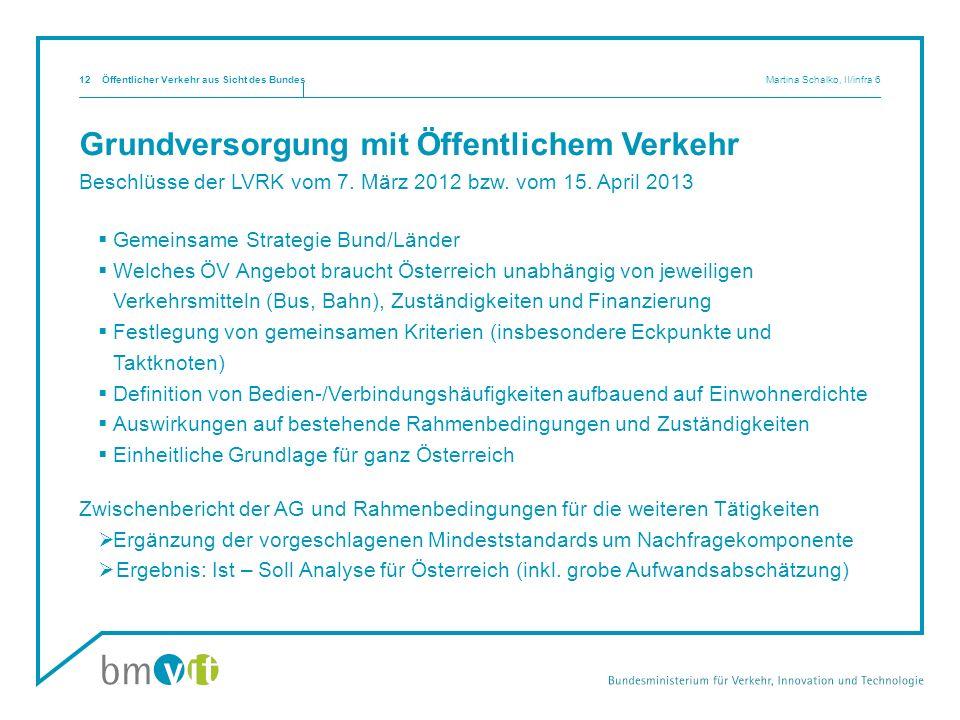 Grundversorgung mit Öffentlichem Verkehr Beschlüsse der LVRK vom 7. März 2012 bzw. vom 15. April 2013 Gemeinsame Strategie Bund/Länder Welches ÖV Ange