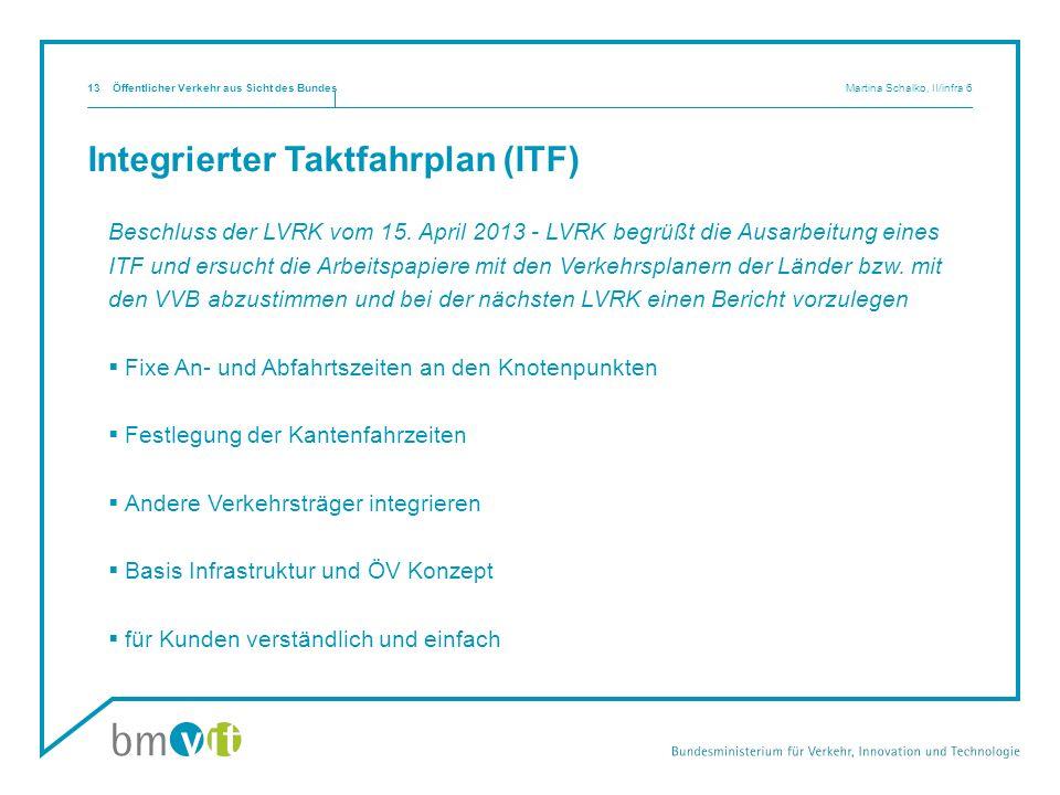 Integrierter Taktfahrplan (ITF) Beschluss der LVRK vom 15. April 2013 - LVRK begrüßt die Ausarbeitung eines ITF und ersucht die Arbeitspapiere mit den