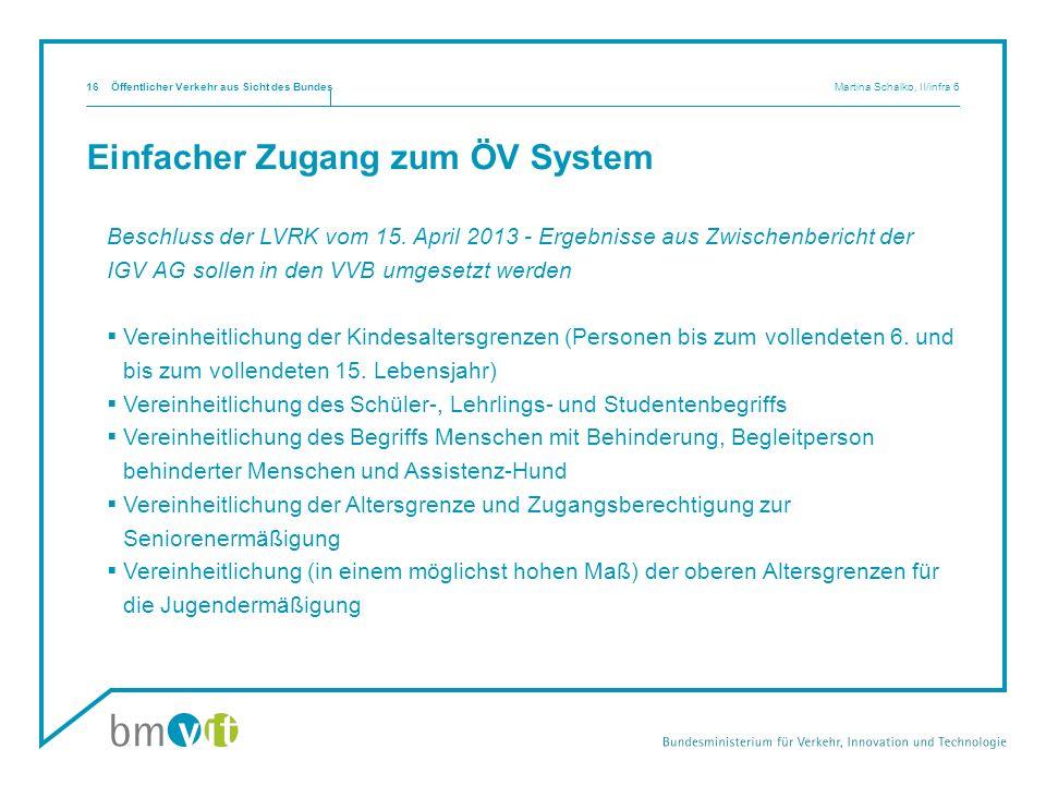 Einfacher Zugang zum ÖV System Beschluss der LVRK vom 15. April 2013 - Ergebnisse aus Zwischenbericht der IGV AG sollen in den VVB umgesetzt werden Ve