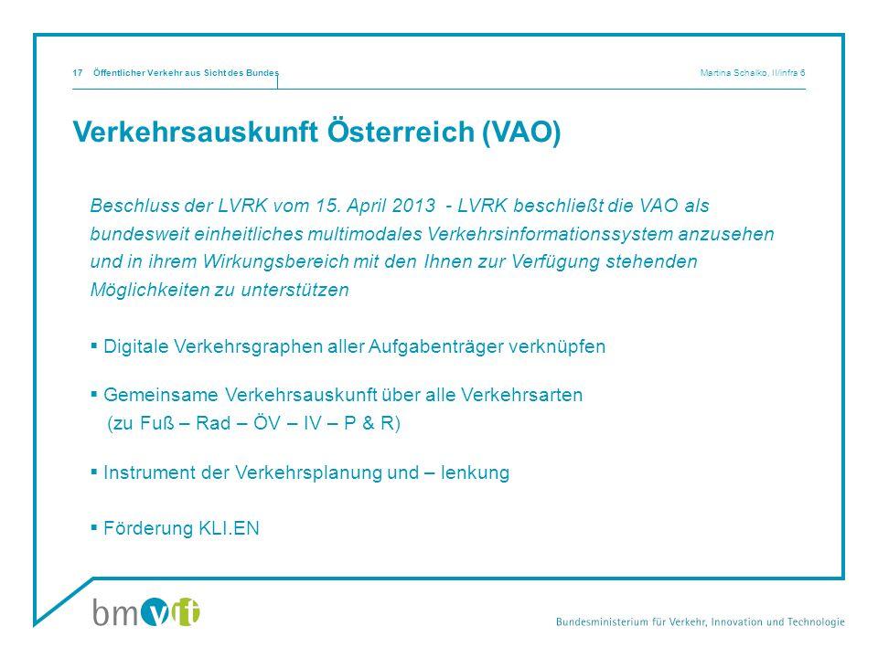 Verkehrsauskunft Österreich (VAO) Beschluss der LVRK vom 15. April 2013 - LVRK beschließt die VAO als bundesweit einheitliches multimodales Verkehrsin