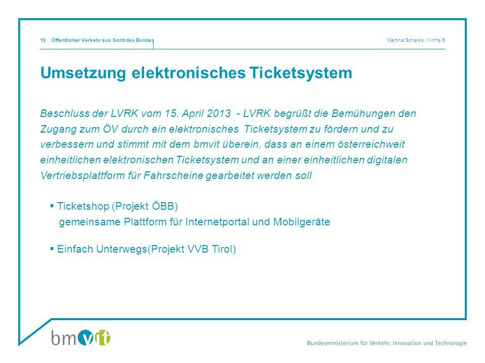 Umsetzung elektronisches Ticketsystem Beschluss der LVRK vom 15. April 2013 - LVRK begrüßt die Bemühungen den Zugang zum ÖV durch ein elektronisches T