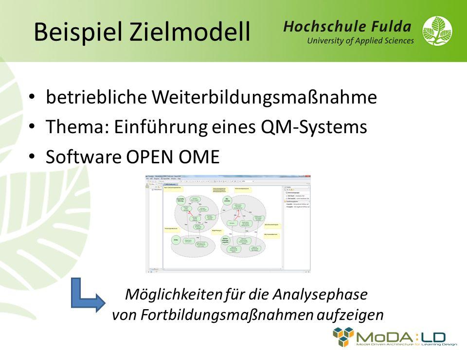 Beispiel Zielmodell betriebliche Weiterbildungsmaßnahme Thema: Einführung eines QM-Systems Software OPEN OME Möglichkeiten für die Analysephase von Fo