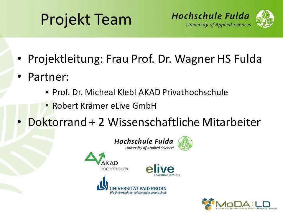 Projekt Team Projektleitung: Frau Prof. Dr. Wagner HS Fulda Partner: Prof. Dr. Micheal Klebl AKAD Privathochschule Robert Krämer eLive GmbH Doktorrand