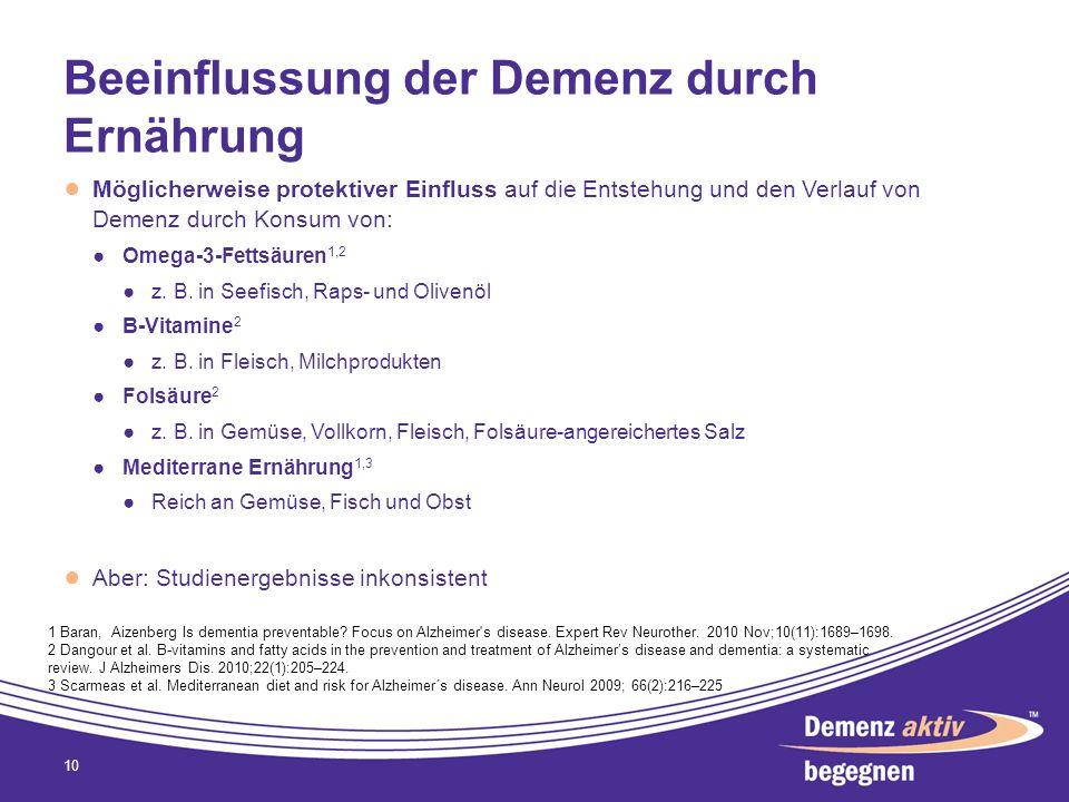 Beeinflussung der Demenz durch Ernährung Möglicherweise protektiver Einfluss auf die Entstehung und den Verlauf von Demenz durch Konsum von: Omega-3-F