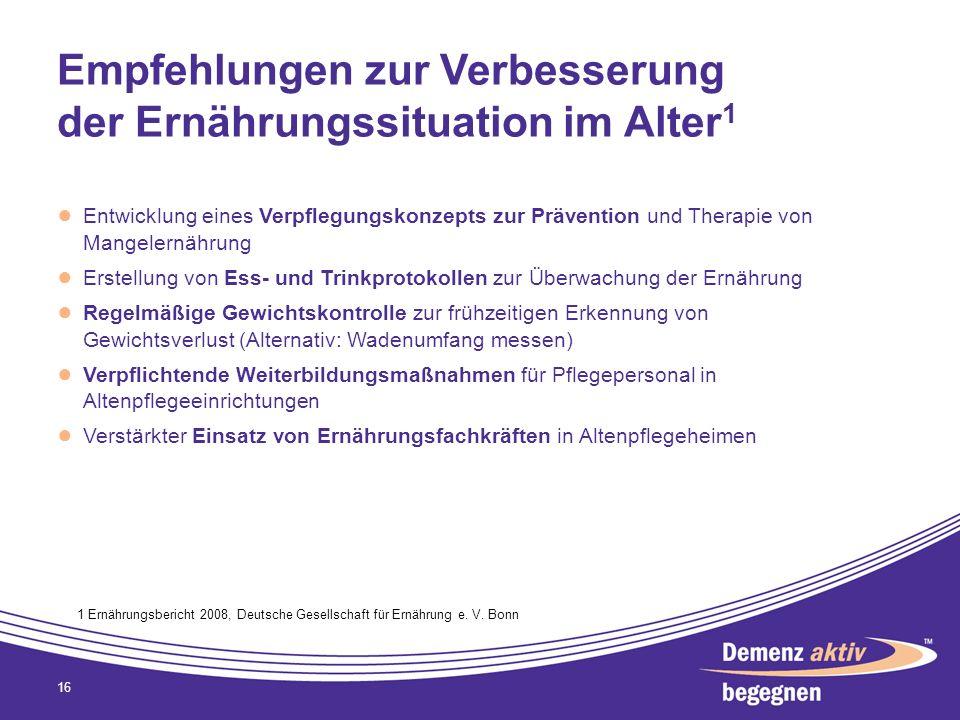 Empfehlungen zur Verbesserung der Ernährungssituation im Alter 1 Entwicklung eines Verpflegungskonzepts zur Prävention und Therapie von Mangelernährun