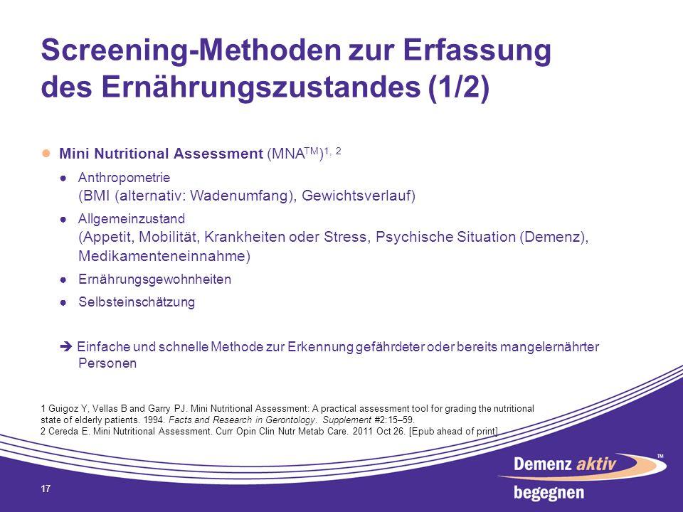 Screening-Methoden zur Erfassung des Ernährungszustandes (1/2) Mini Nutritional Assessment (MNA TM ) 1, 2 Anthropometrie (BMI (alternativ: Wadenumfang