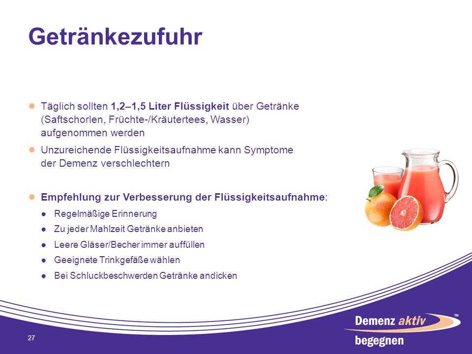Getränkezufuhr Täglich sollten 1,2–1,5 Liter Flüssigkeit über Getränke (Saftschorlen, Früchte-/Kräutertees, Wasser) aufgenommen werden Unzureichende F