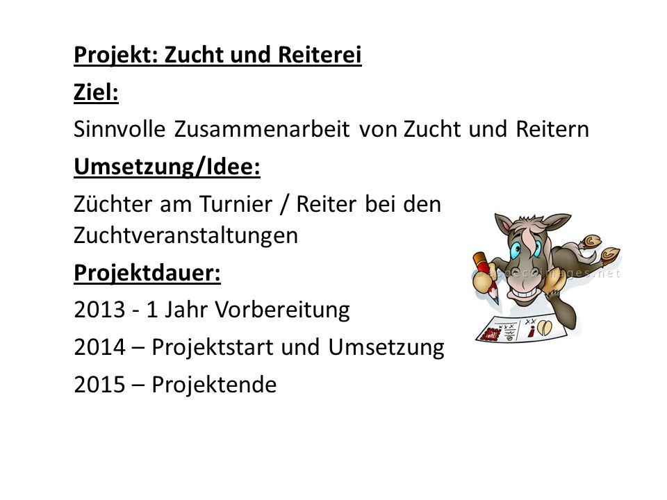 Projekt: Zucht und Reiterei Ziel: Sinnvolle Zusammenarbeit von Zucht und Reitern Umsetzung/Idee: Züchter am Turnier / Reiter bei den Zuchtveranstaltun