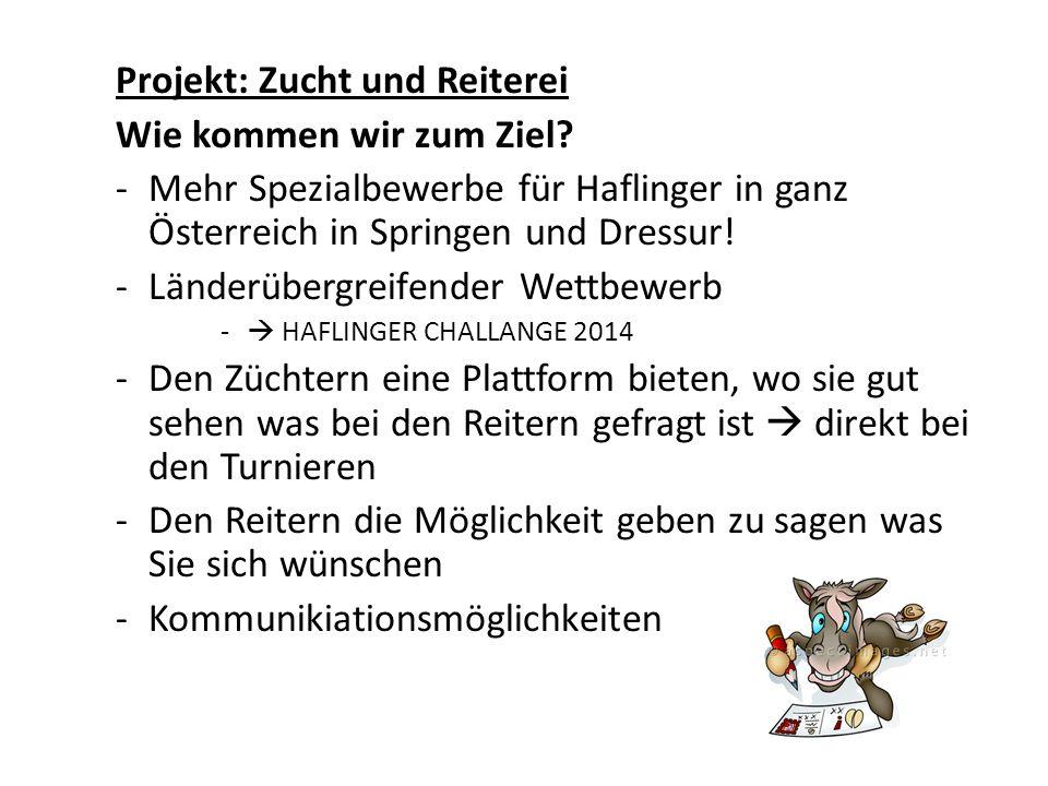 Projekt: Zucht und Reiterei Wie kommen wir zum Ziel? -Mehr Spezialbewerbe für Haflinger in ganz Österreich in Springen und Dressur! -Länderübergreifen