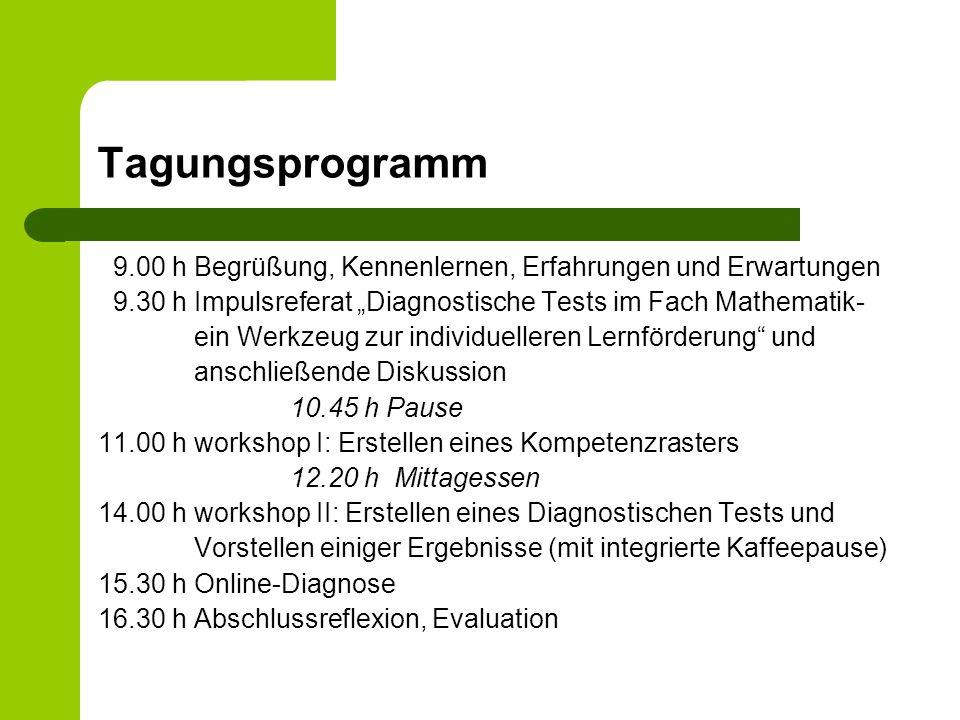 Tagungsprogramm 9.00 h Begrüßung, Kennenlernen, Erfahrungen und Erwartungen 9.30 hImpulsreferat Diagnostische Tests im Fach Mathematik- ein Werkzeug z