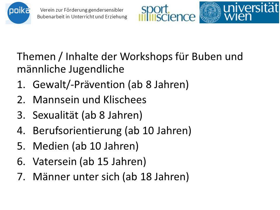 Themen / Inhalte der Workshops für Buben und männliche Jugendliche 1.Gewalt/-Prävention (ab 8 Jahren) 2.Mannsein und Klischees 3.Sexualität (ab 8 Jahr