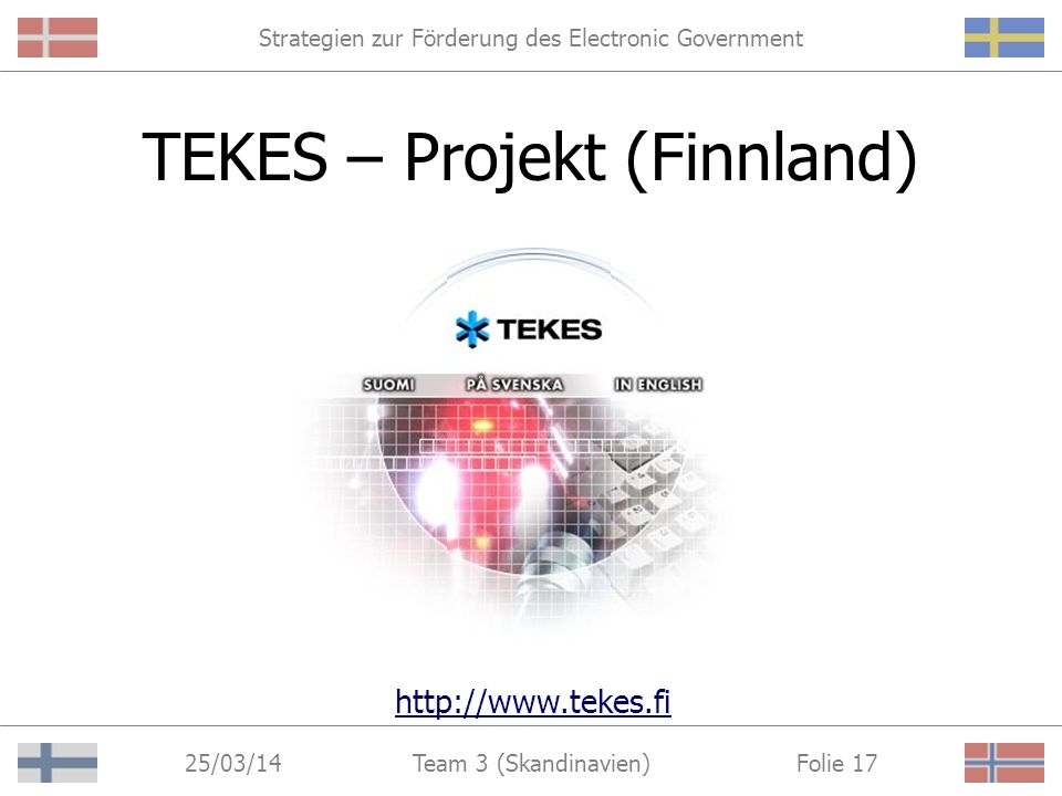 Strategien zur Förderung des Electronic Government 25/03/14 Folie 16Team 3 (Skandinavien) SITRA - Projekt (Finnland)