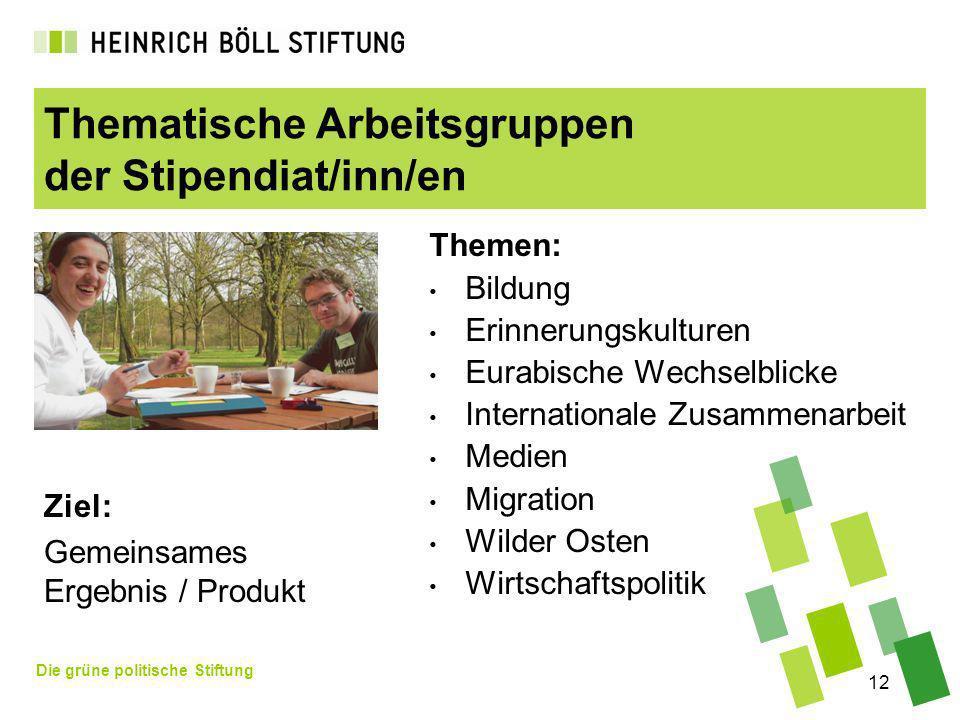 Die grüne politische Stiftung 12 Thematische Arbeitsgruppen der Stipendiat/inn/en Themen: Bildung Erinnerungskulturen Eurabische Wechselblicke Interna