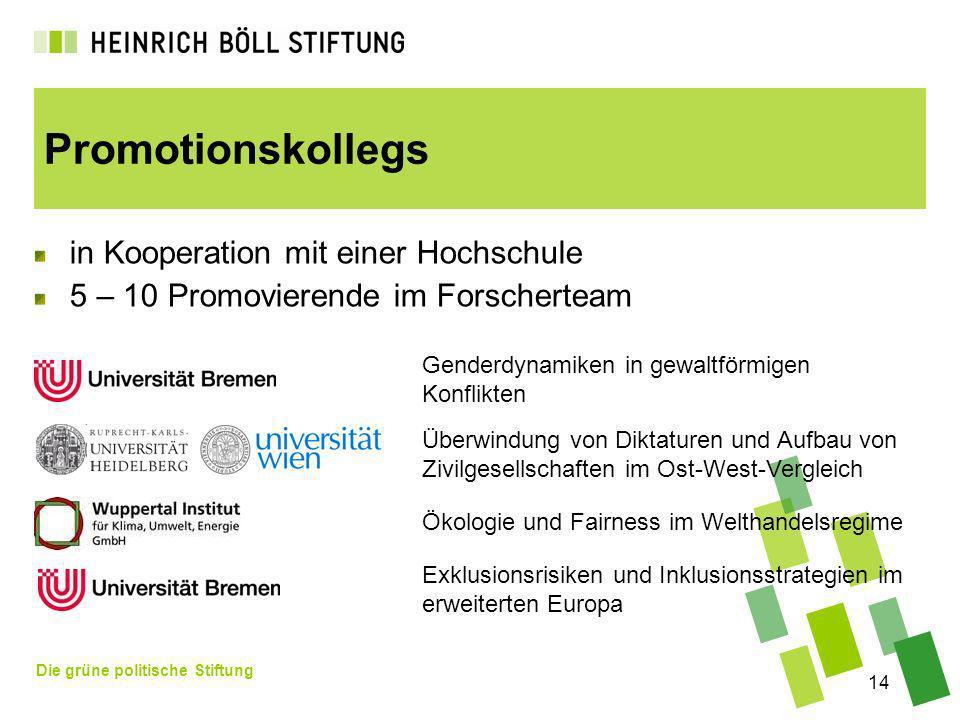 Die grüne politische Stiftung 14 Promotionskollegs in Kooperation mit einer Hochschule 5 – 10 Promovierende im Forscherteam Genderdynamiken in gewaltf