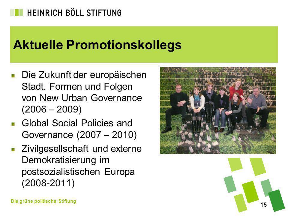 Die grüne politische Stiftung 15 Aktuelle Promotionskollegs Die Zukunft der europäischen Stadt. Formen und Folgen von New Urban Governance (2006 – 200