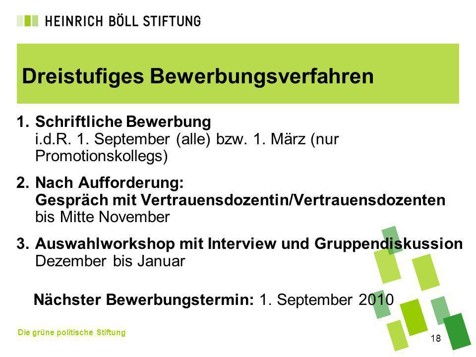 Die grüne politische Stiftung 18 Dreistufiges Bewerbungsverfahren 1.Schriftliche Bewerbung i.d.R. 1. September (alle) bzw. 1. März (nur Promotionskoll