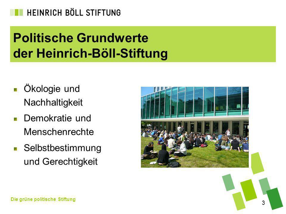 Die grüne politische Stiftung 3 Politische Grundwerte der Heinrich-Böll-Stiftung Ökologie und Nachhaltigkeit Demokratie und Menschenrechte Selbstbestimmung und Gerechtigkeit