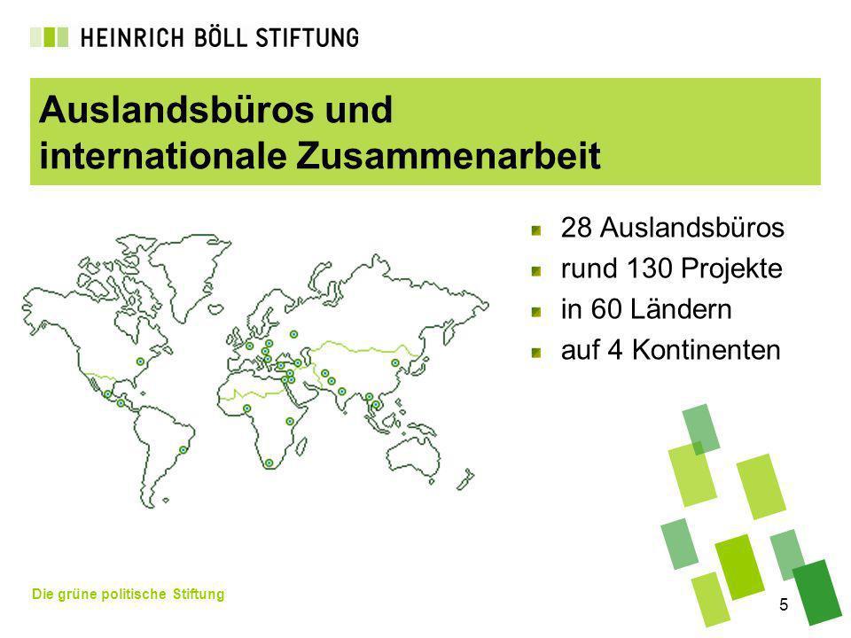 Die grüne politische Stiftung 5 Auslandsbüros und internationale Zusammenarbeit 28 Auslandsbüros rund 130 Projekte in 60 Ländern auf 4 Kontinenten