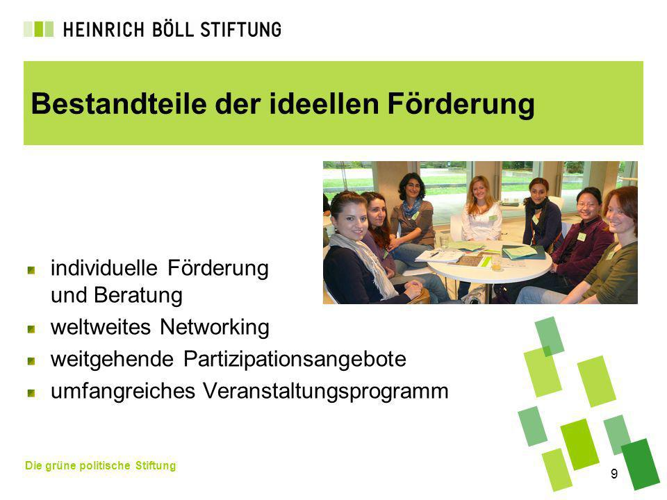 Die grüne politische Stiftung 9 Bestandteile der ideellen Förderung individuelle Förderung und Beratung weltweites Networking weitgehende Partizipationsangebote umfangreiches Veranstaltungsprogramm