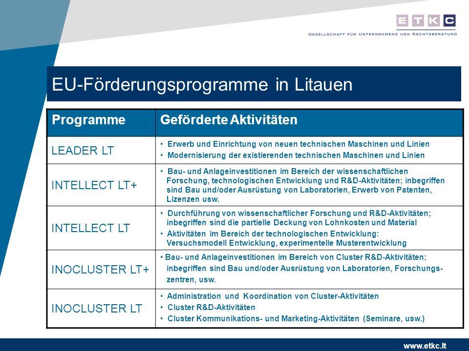 www.etkc.lt EU-Förderungsprogramme in Litauen ProgrammeGeförderte Aktivitäten LEADER LT Erwerb und Einrichtung von neuen technischen Maschinen und Lin