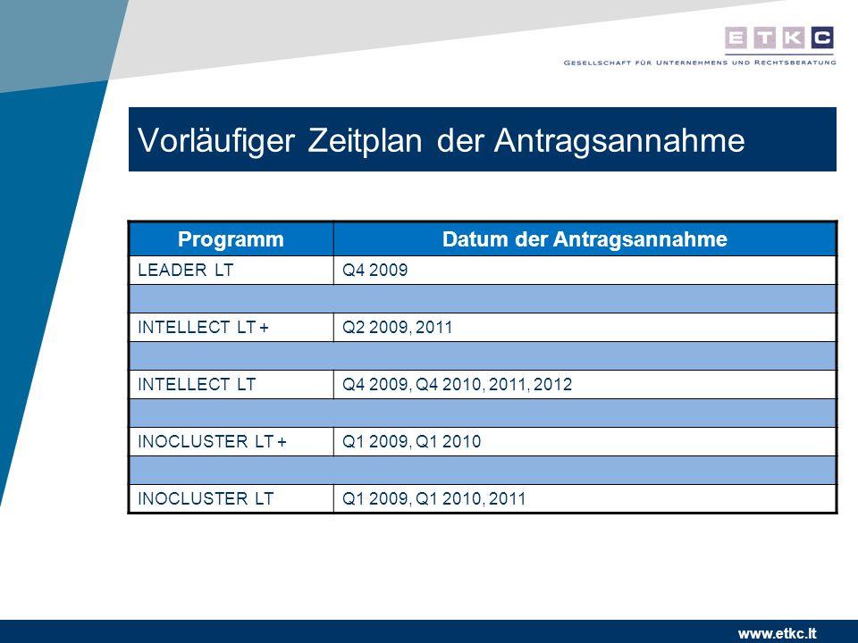 www.etkc.lt Vorläufiger Zeitplan der Antragsannahme ProgrammDatum der Antragsannahme LEADER LTQ4 2009 INTELLECT LT +Q2 2009, 2011 INTELLECT LTQ4 2009,