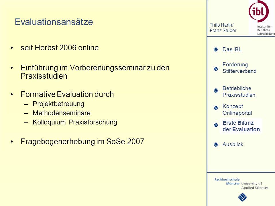 Das IBL Förderung Stifterverband Thilo Harth/ Franz Stuber Betriebliche Praxisstudien Konzept Onlineportal Erste Bilanz der Evaluation Ausblick Erhebungsergebnisse (1) Erste Bilanz der Evaluation