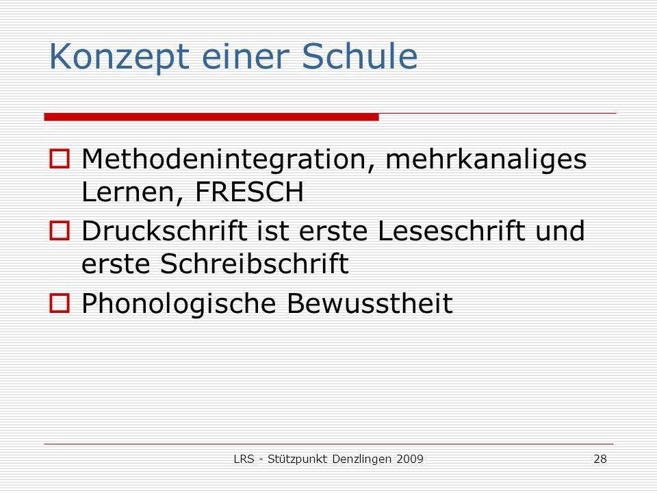 LRS - Stützpunkt Denzlingen 200928 Konzept einer Schule Methodenintegration, mehrkanaliges Lernen, FRESCH Druckschrift ist erste Leseschrift und erste Schreibschrift Phonologische Bewusstheit