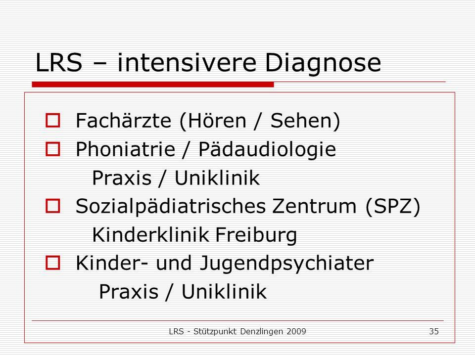 LRS - Stützpunkt Denzlingen 200935 LRS – intensivere Diagnose Fachärzte (Hören / Sehen) Phoniatrie / Pädaudiologie Praxis / Uniklinik Sozialpädiatrisches Zentrum (SPZ) Kinderklinik Freiburg Kinder- und Jugendpsychiater Praxis / Uniklinik