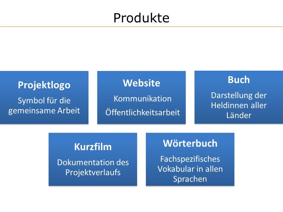 Produkte Projektlogo Symbol für die gemeinsame Arbeit Website Kommunikation Öffentlichkeitsarbeit Buch Darstellung der Heldinnen aller Länder Kurzfilm