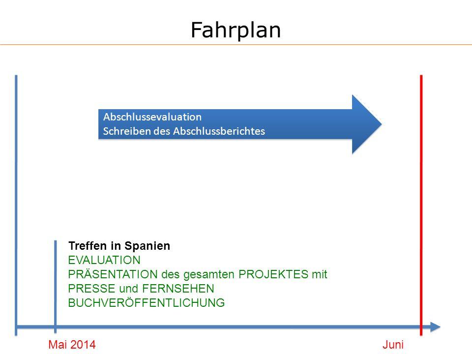 Fahrplan Mai 2014 Treffen in Spanien EVALUATION PRÄSENTATION des gesamten PROJEKTES mit PRESSE und FERNSEHEN BUCHVERÖFFENTLICHUNG Juni 2014 Abschlussevaluation Schreiben des Abschlussberichtes Abschlussevaluation Schreiben des Abschlussberichtes
