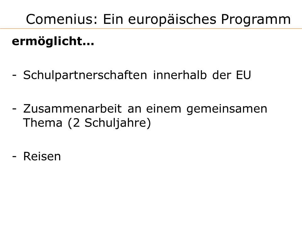 Comenius: Ein europäisches Programm ermöglicht... -Schulpartnerschaften innerhalb der EU -Zusammenarbeit an einem gemeinsamen Thema (2 Schuljahre) -Re
