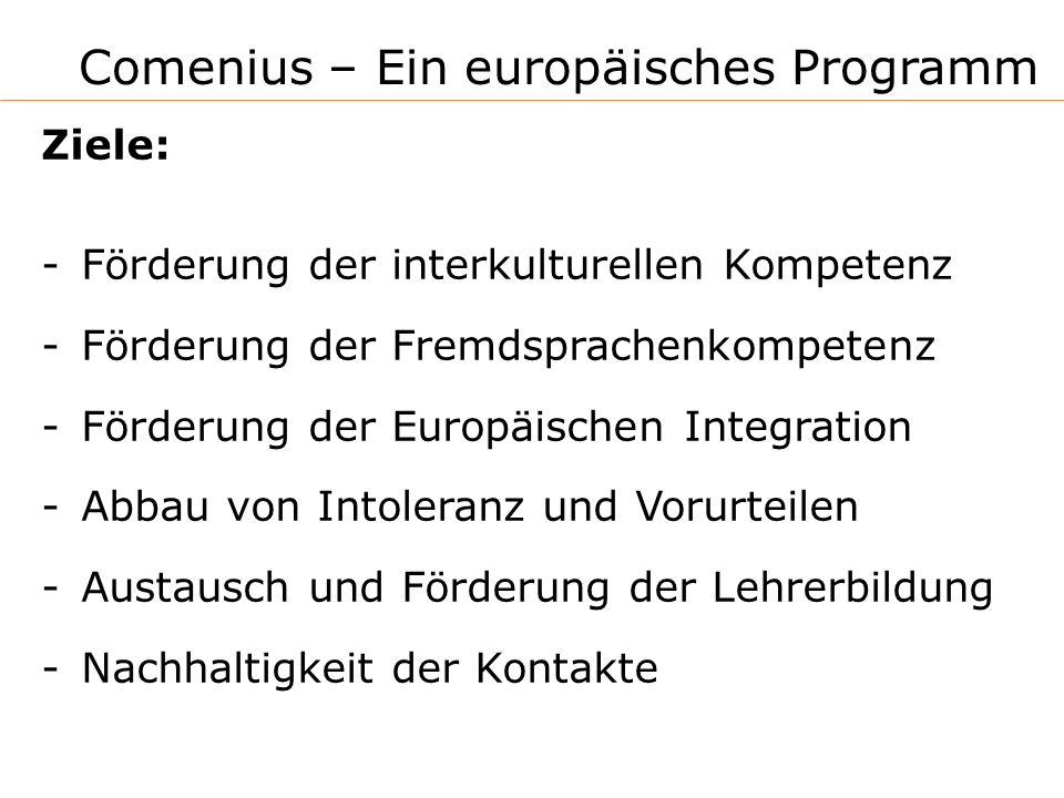Comenius – Ein europäisches Programm Ziele: -Förderung der interkulturellen Kompetenz -Förderung der Fremdsprachenkompetenz -Förderung der Europäischen Integration -Abbau von Intoleranz und Vorurteilen -Austausch und Förderung der Lehrerbildung -Nachhaltigkeit der Kontakte