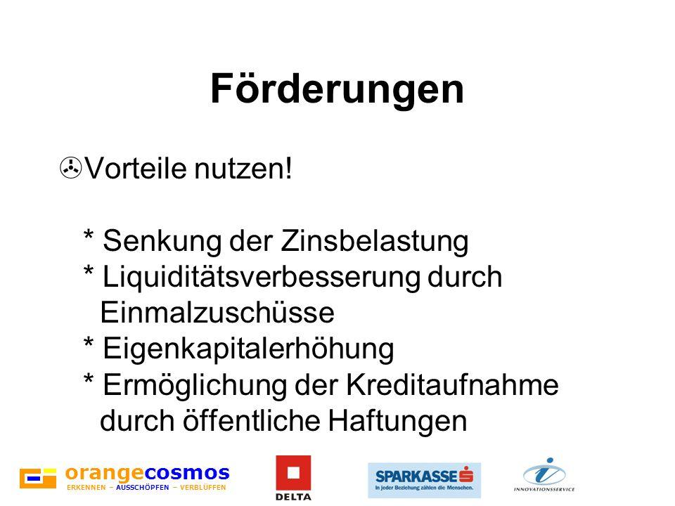 orangecosmos ERKENNEN – AUSSCHÖPFEN – VERBLÜFFEN Förderungen >Vorteile nutzen! * Senkung der Zinsbelastung * Liquiditätsverbesserung durch Einmalzusch
