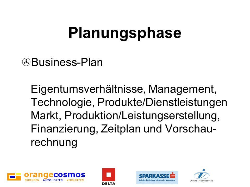 orangecosmos ERKENNEN – AUSSCHÖPFEN – VERBLÜFFEN Planungsphase >Business-Plan Eigentumsverhältnisse, Management, Technologie, Produkte/Dienstleistunge