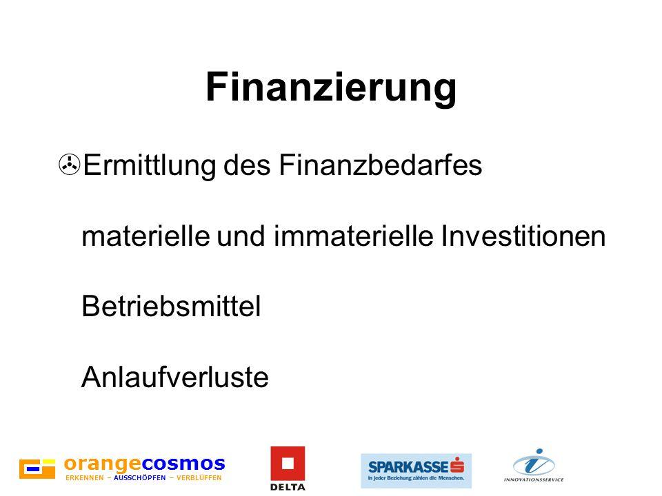 orangecosmos ERKENNEN – AUSSCHÖPFEN – VERBLÜFFEN Finanzierung >Ermittlung des Finanzbedarfes materielle und immaterielle Investitionen Betriebsmittel