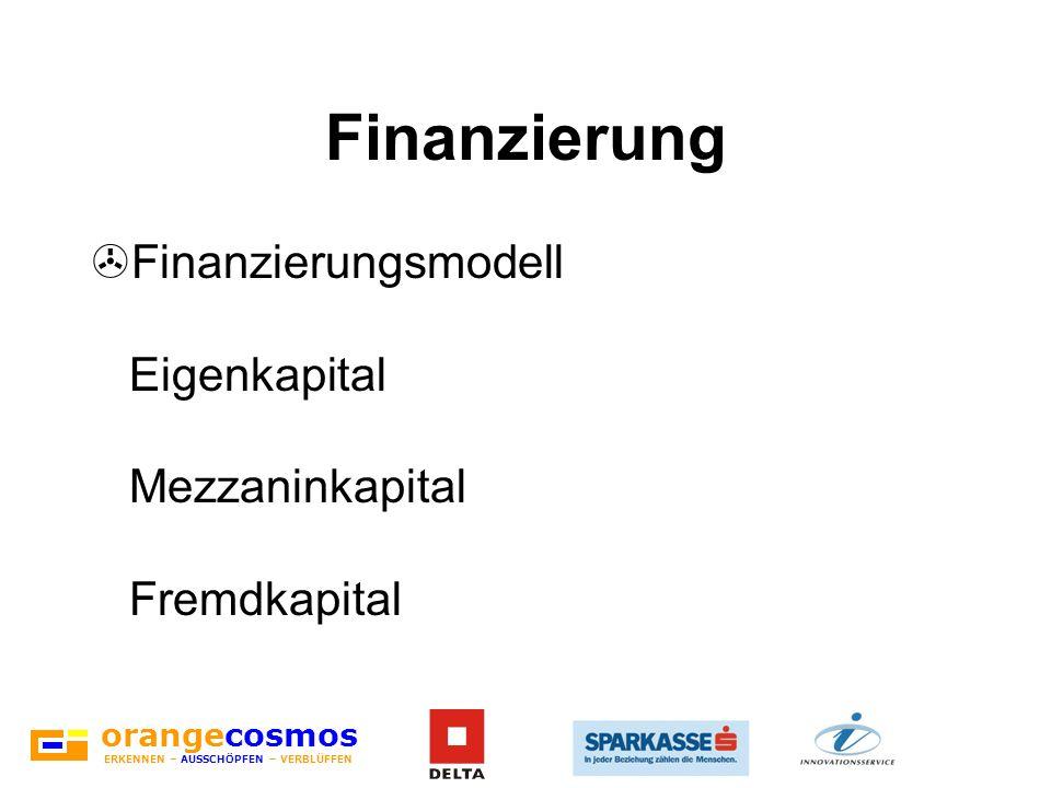 orangecosmos ERKENNEN – AUSSCHÖPFEN – VERBLÜFFEN Finanzierung >Finanzierungsmodell Eigenkapital Mezzaninkapital Fremdkapital