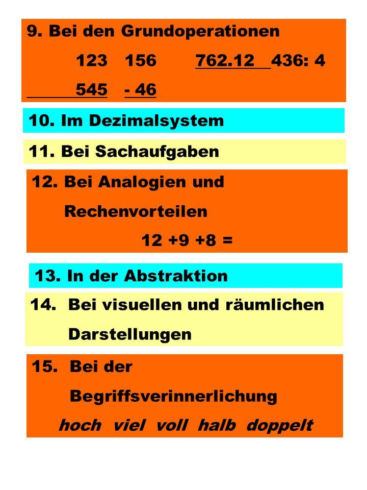 9. Bei den Grundoperationen 123156 762.12436: 4 545- 46 10. Im Dezimalsystem 11. Bei Sachaufgaben 12. Bei Analogien und Rechenvorteilen 12 +9 +8 = 14.