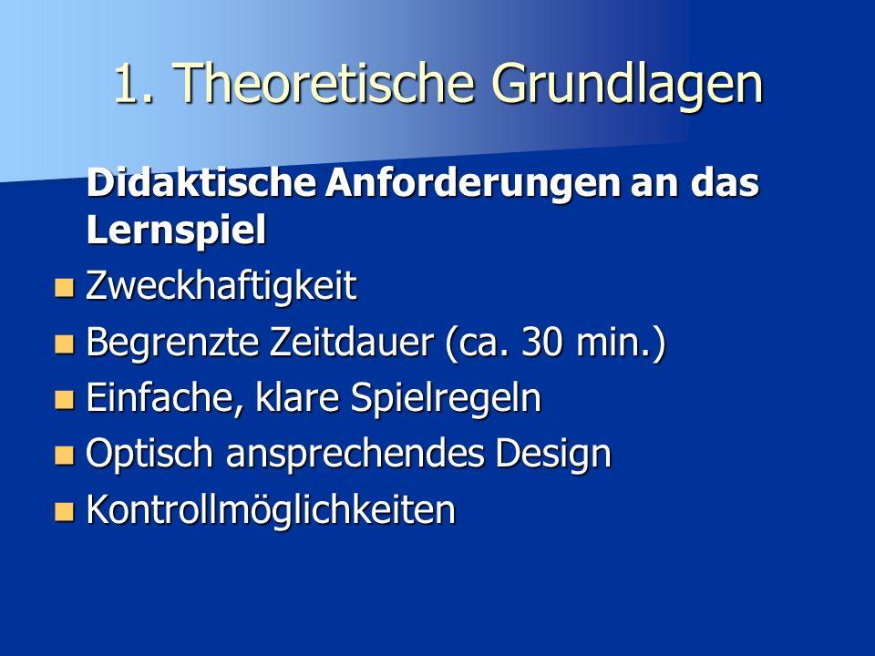 1. Theoretische Grundlagen Didaktische Anforderungen an das Lernspiel Zweckhaftigkeit Zweckhaftigkeit Begrenzte Zeitdauer (ca. 30 min.) Begrenzte Zeit