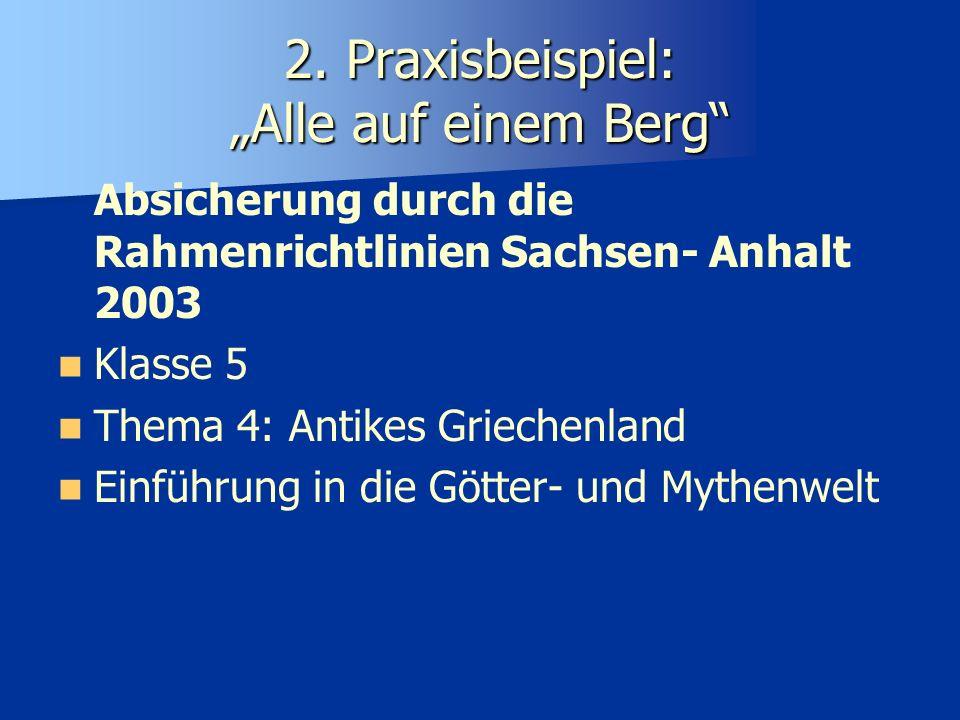 2. Praxisbeispiel: Alle auf einem Berg Absicherung durch die Rahmenrichtlinien Sachsen- Anhalt 2003 Klasse 5 Thema 4: Antikes Griechenland Einführung