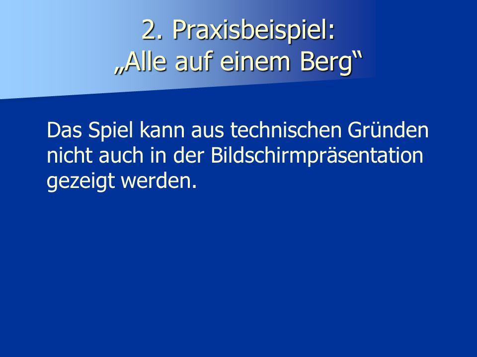 2. Praxisbeispiel: Alle auf einem Berg Das Spiel kann aus technischen Gründen nicht auch in der Bildschirmpräsentation gezeigt werden.
